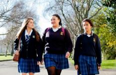 School girls walking